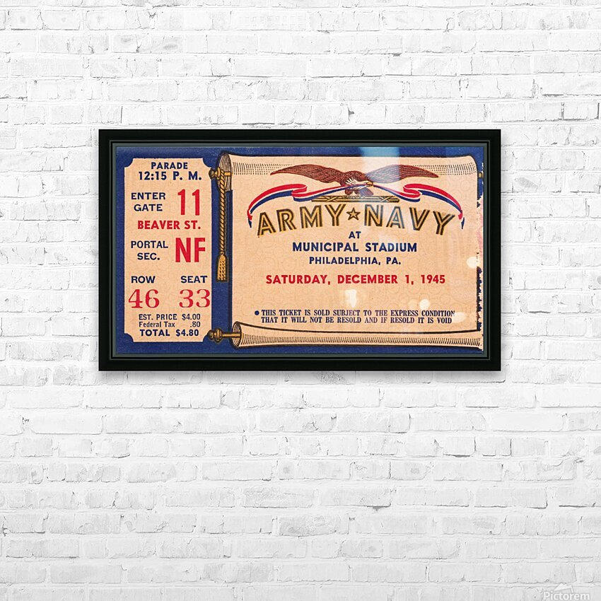 1945 Army Navy Game of the Century HD Sublimation Metal print with Decorating Float Frame (BOX)