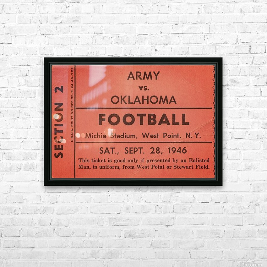 1946 Army vs. Oklahoma HD Sublimation Metal print with Decorating Float Frame (BOX)