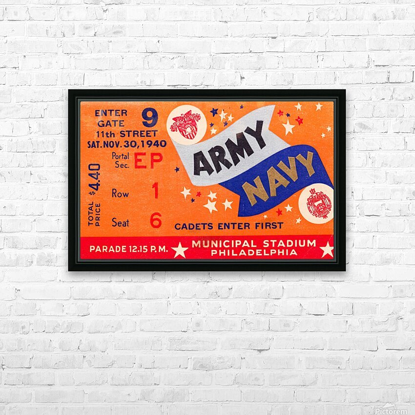 1940 Army Navy Game HD Sublimation Metal print with Decorating Float Frame (BOX)