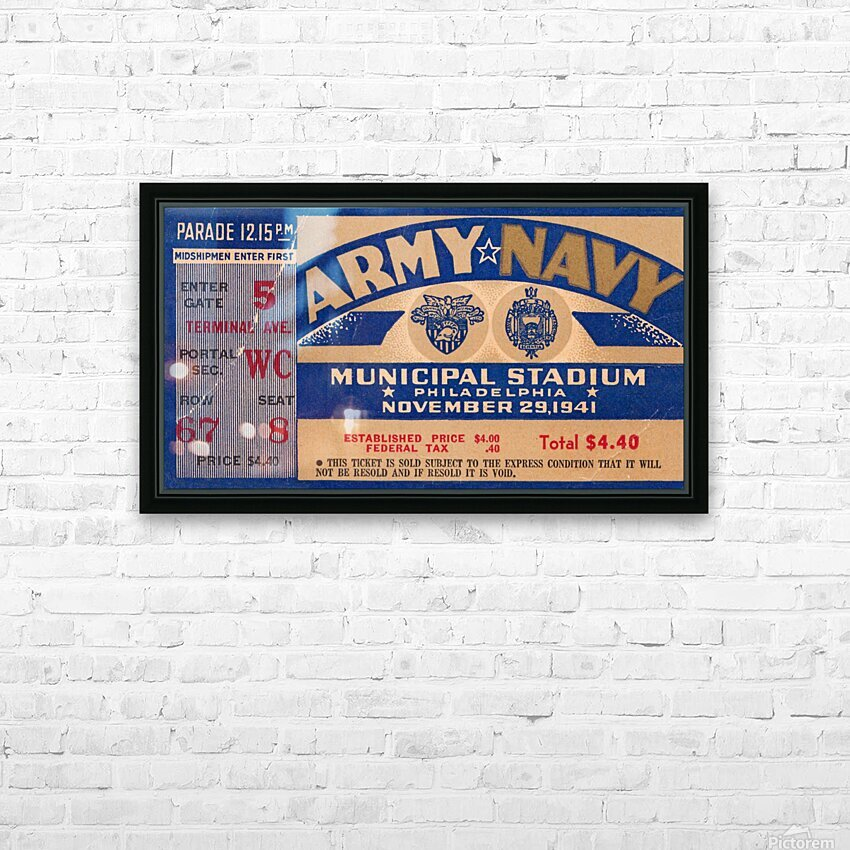 1941 Army Navy Game HD Sublimation Metal print with Decorating Float Frame (BOX)
