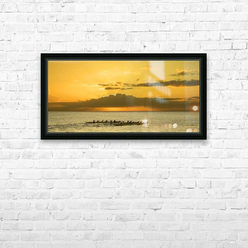Long Canoes at Sunset HD Sublimation Metal print with Decorating Float Frame (BOX)
