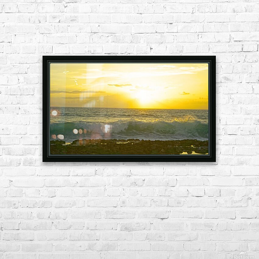 Waves at Sunset HD Sublimation Metal print with Decorating Float Frame (BOX)