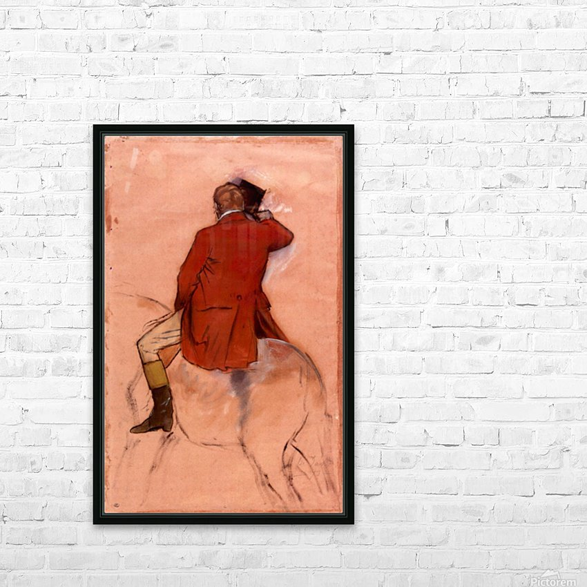 Rider with red jacket by Degas HD Sublimation Metal print with Decorating Float Frame (BOX)