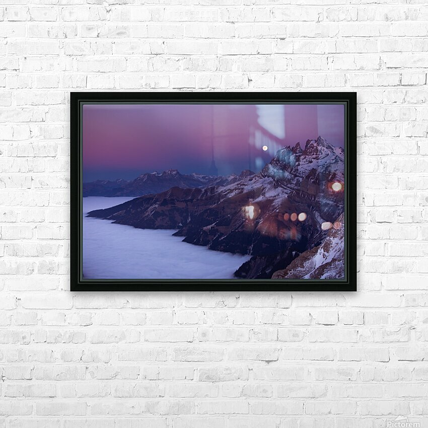 Full Moon over a sea of clouds HD Sublimation Metal print with Decorating Float Frame (BOX)