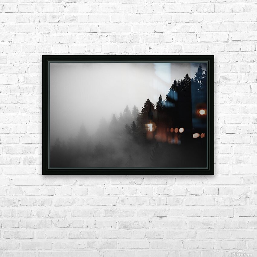 Pine trees in the fog HD Sublimation Metal print with Decorating Float Frame (BOX)