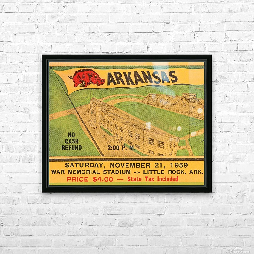 1959 Arkansas Football Ticket Art HD Sublimation Metal print with Decorating Float Frame (BOX)