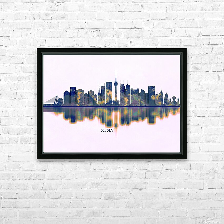 Xian Skyline HD Sublimation Metal print with Decorating Float Frame (BOX)