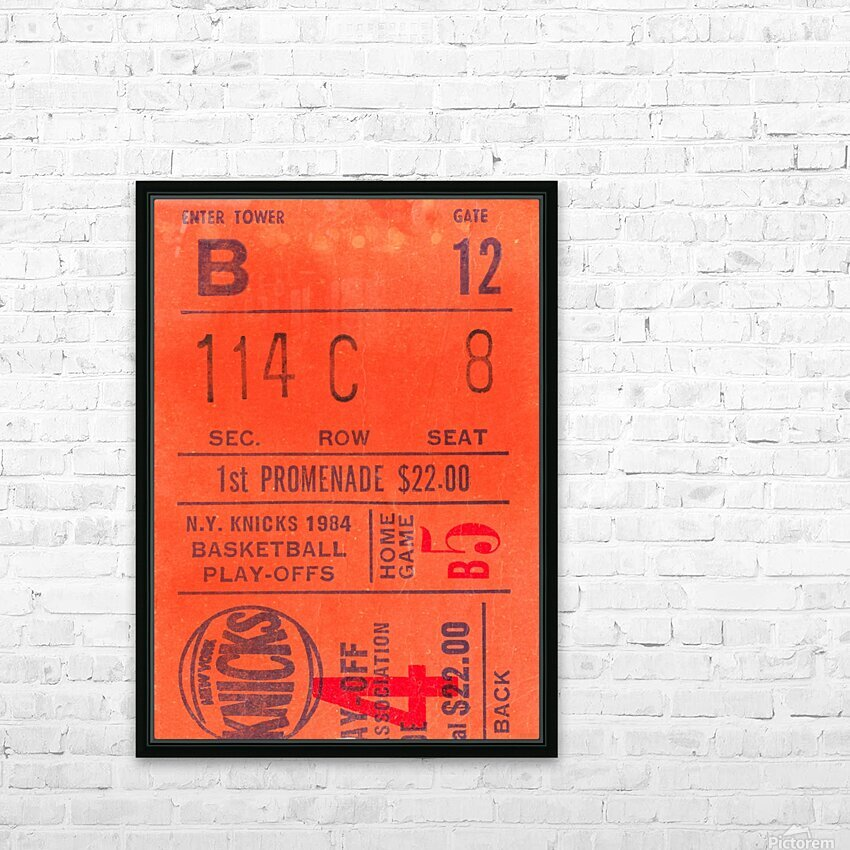 1984 New York Knicks Ticket Stub Art HD Sublimation Metal print with Decorating Float Frame (BOX)