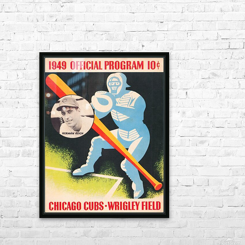 1949 Chicago Cubs Program Art HD Sublimation Metal print with Decorating Float Frame (BOX)