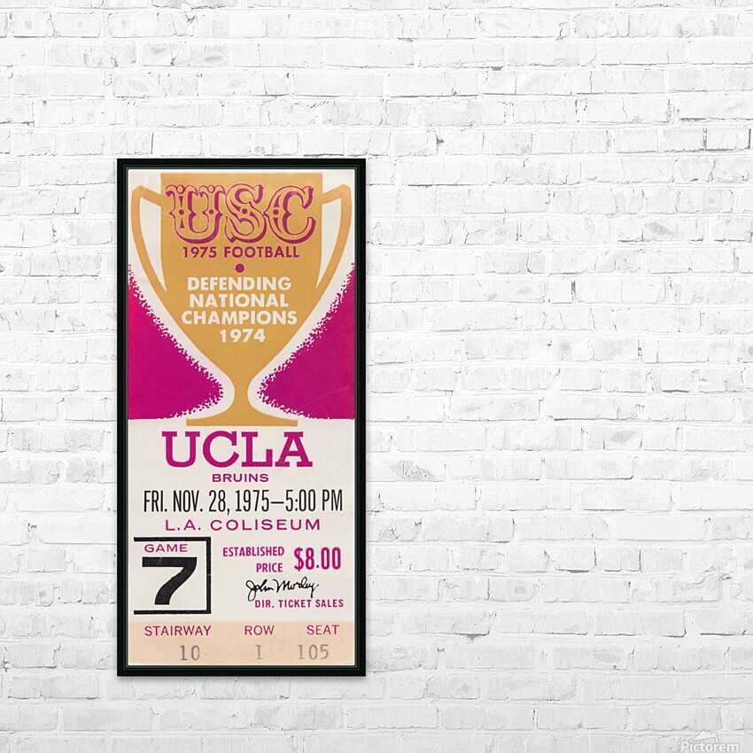 1975 UCLA vs. USC HD Sublimation Metal print with Decorating Float Frame (BOX)