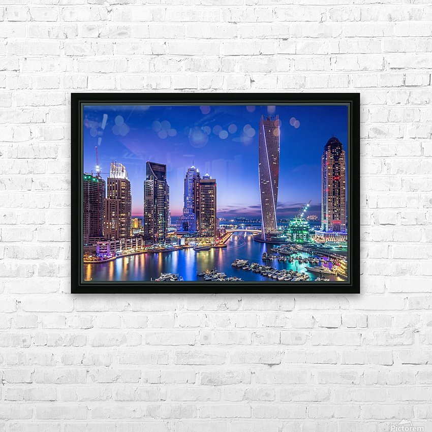 Dubai Marina HD Sublimation Metal print with Decorating Float Frame (BOX)