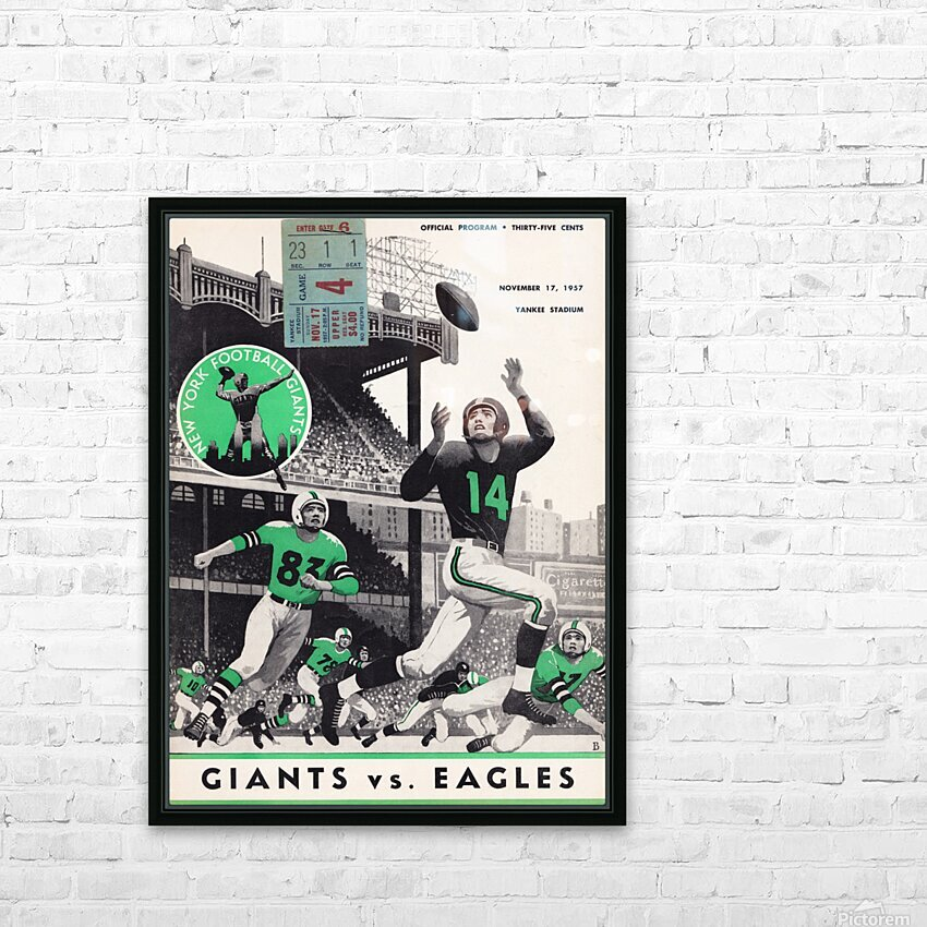 1957 New York Giants vs. Eagles Program  HD Sublimation Metal print with Decorating Float Frame (BOX)
