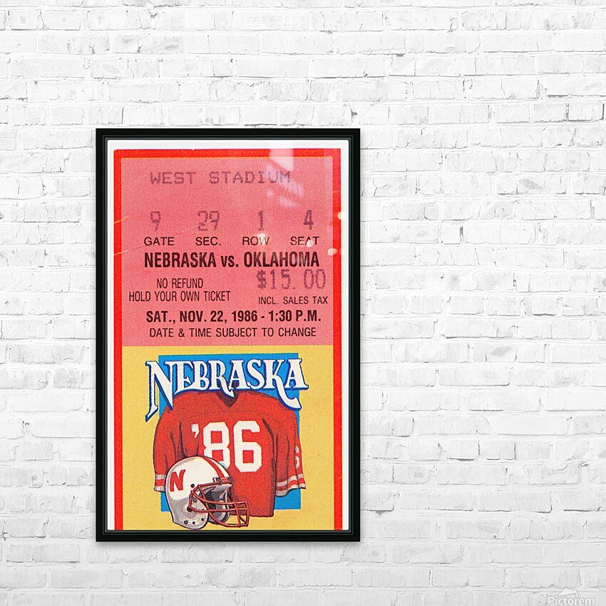 1986 Oklahoma vs. Nebraska HD Sublimation Metal print with Decorating Float Frame (BOX)