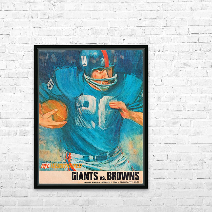 1966 New York Giants Program Cover Art HD Sublimation Metal print with Decorating Float Frame (BOX)