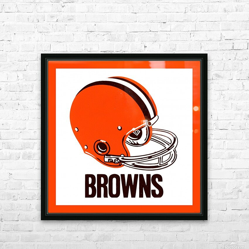 1971 Cleveland Browns Helmet HD Sublimation Metal print with Decorating Float Frame (BOX)