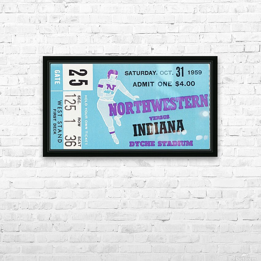 1959 Northwestern vs. Indiana HD Sublimation Metal print with Decorating Float Frame (BOX)