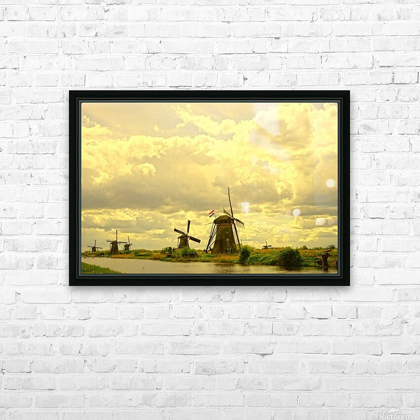 Windmills at Sunset  HD Sublimation Metal print with Decorating Float Frame (BOX)