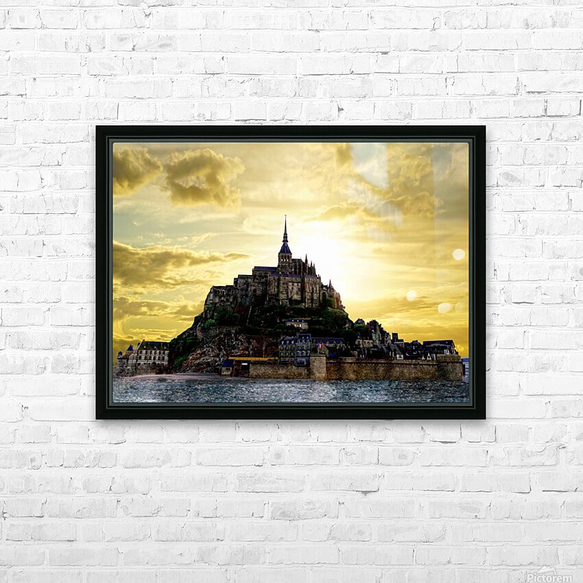 Golden Mont St Michel HD Sublimation Metal print with Decorating Float Frame (BOX)