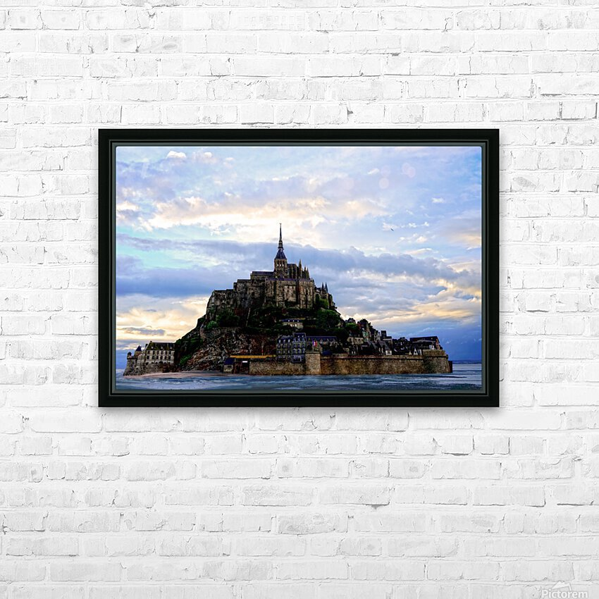 Mont St Michael Rising Tide HD Sublimation Metal print with Decorating Float Frame (BOX)