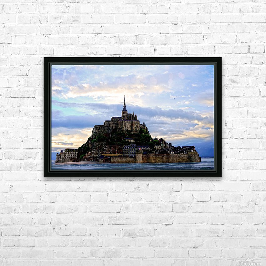 Mont St Michael Rising Tide Panorama HD Sublimation Metal print with Decorating Float Frame (BOX)