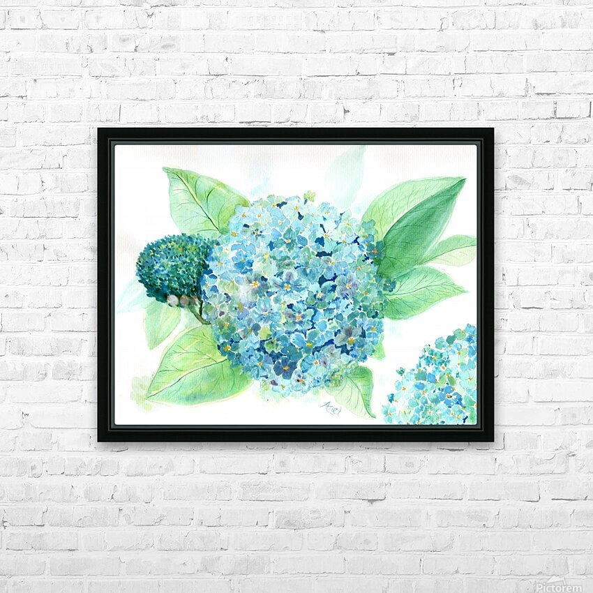 Lovely Blue Hydrangia  HD Sublimation Metal print with Decorating Float Frame (BOX)