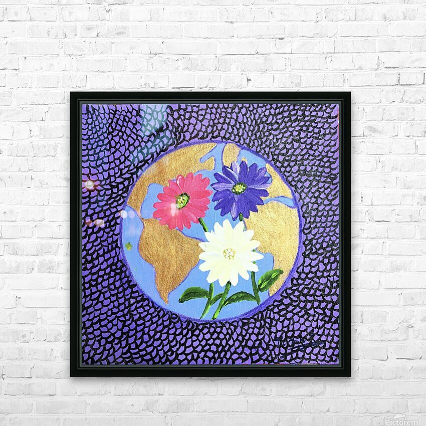 The Earth Daisy Husama Styl-Background HD Sublimation Metal print with Decorating Float Frame (BOX)