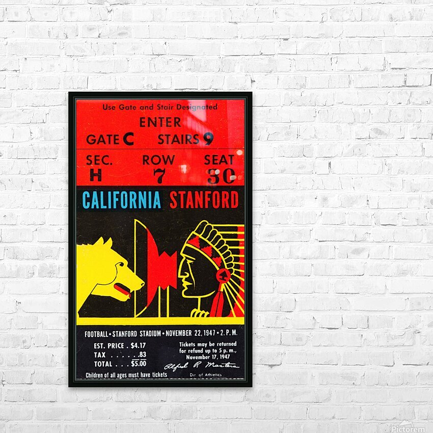 1947 Cal vs. Stanford HD Sublimation Metal print with Decorating Float Frame (BOX)