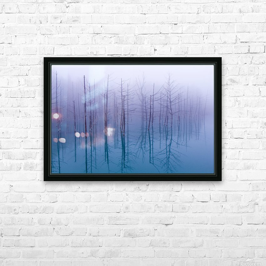 Misty Blue Pond HD Sublimation Metal print with Decorating Float Frame (BOX)