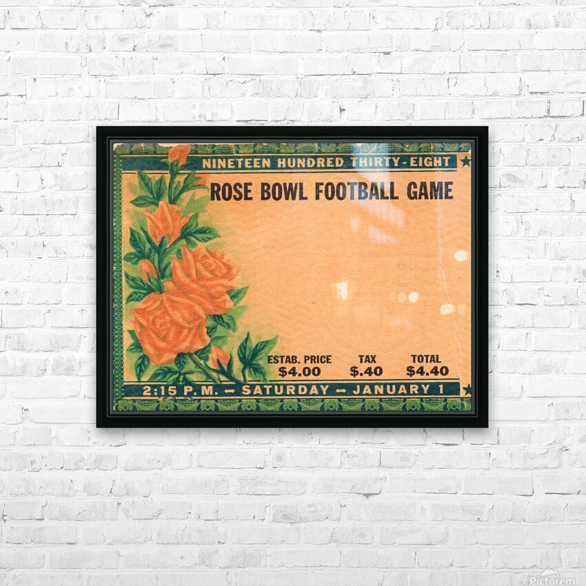 1938 Rose Bowl California Win HD Sublimation Metal print with Decorating Float Frame (BOX)