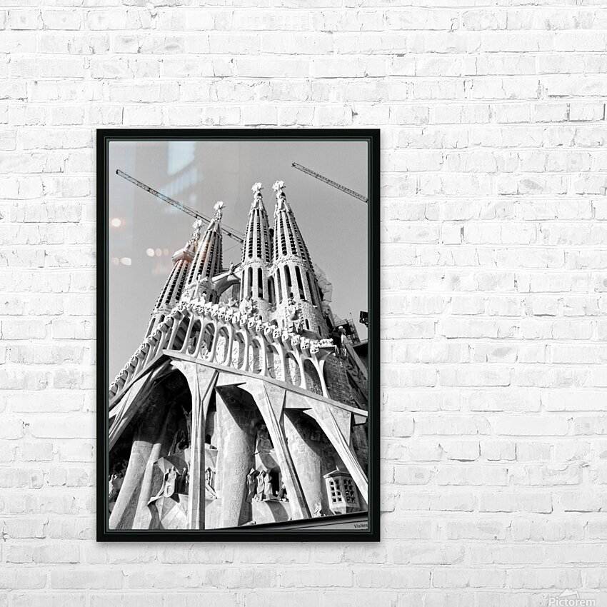 Barcelona Cathedral - La Sagrada Familia in black and white HD Sublimation Metal print with Decorating Float Frame (BOX)