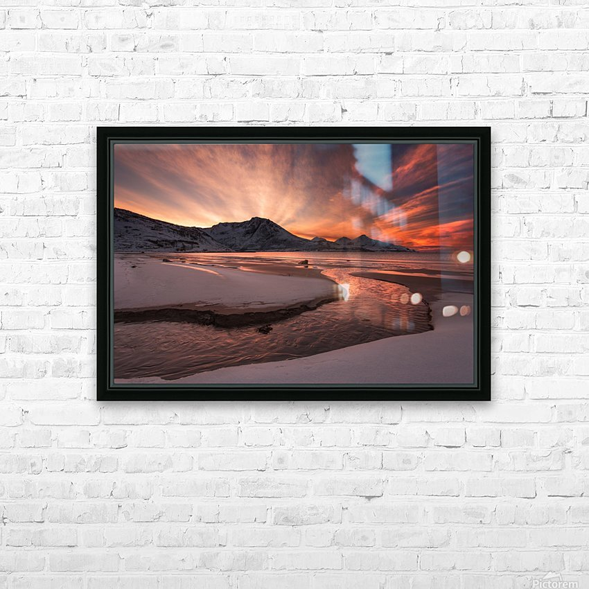 Golden Sunset HD Sublimation Metal print with Decorating Float Frame (BOX)