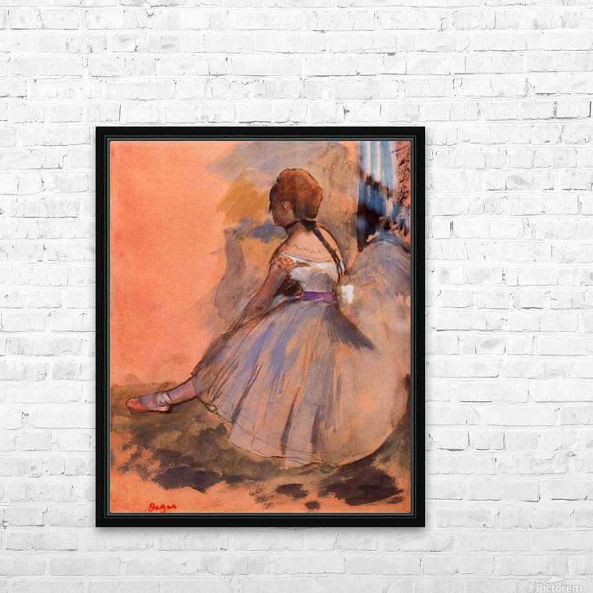 Sitting dancer with extended left leg by Degas HD Sublimation Metal print with Decorating Float Frame (BOX)