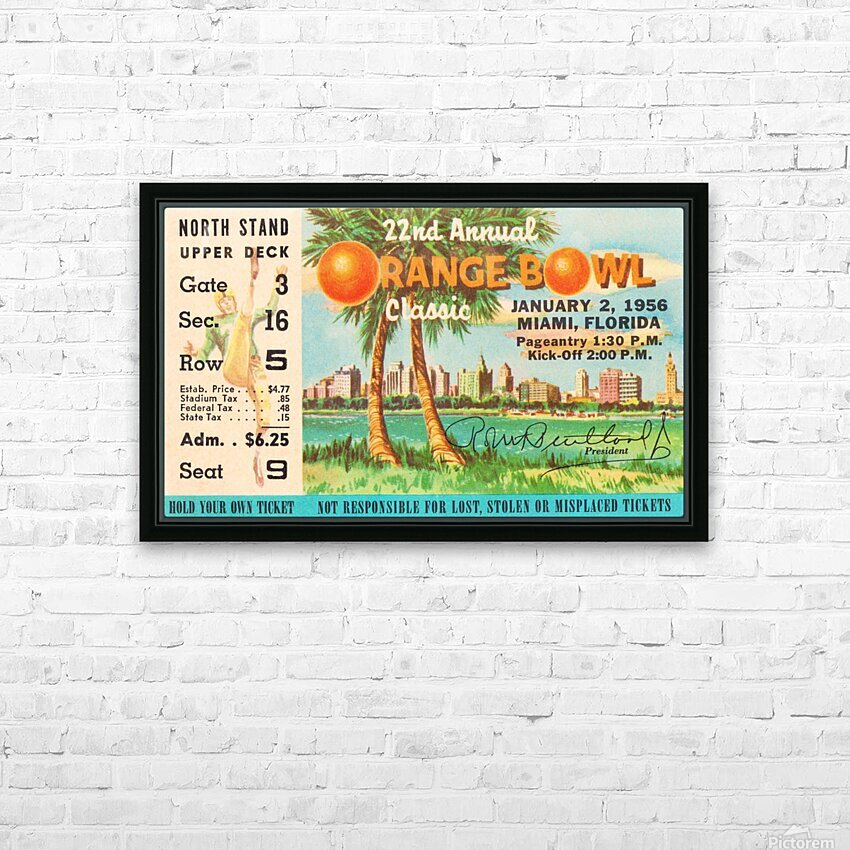 1956 Orange Bowl Oklahoma National Champs HD Sublimation Metal print with Decorating Float Frame (BOX)
