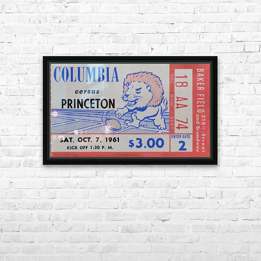 1961 Columbia vs. Princeton Ticket Stub Art HD Sublimation Metal print with Decorating Float Frame (BOX)