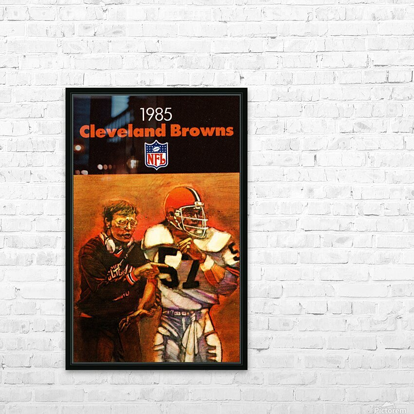 1985 Cleveland Browns Football Poster HD Sublimation Metal print with Decorating Float Frame (BOX)
