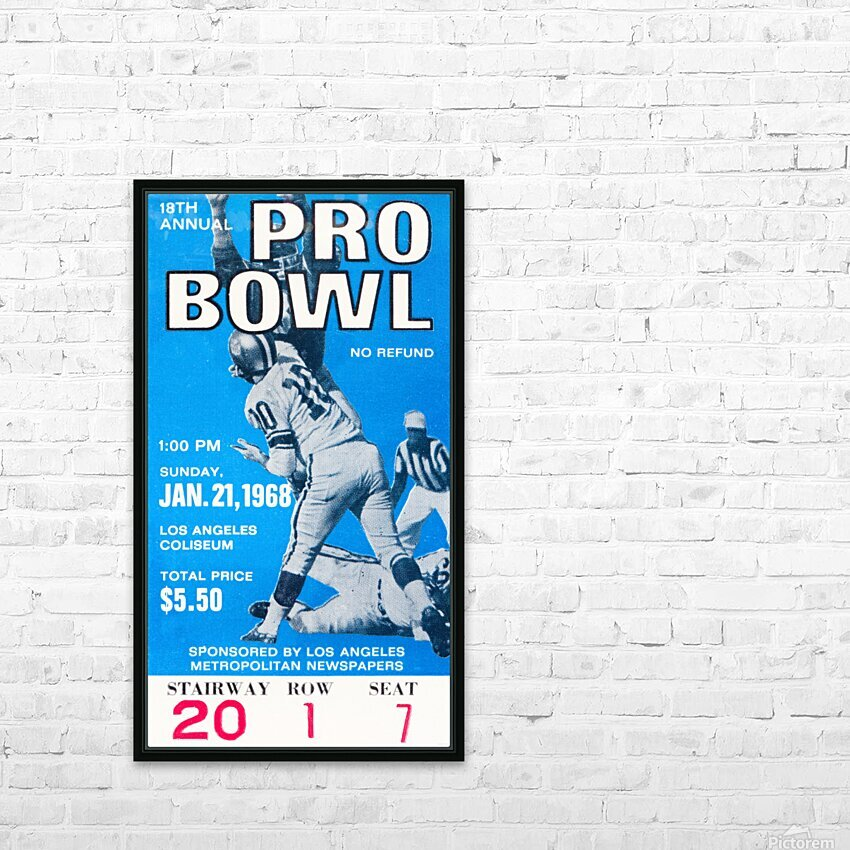 1968 Pro Bowl Football Ticket Stub Print HD Sublimation Metal print with Decorating Float Frame (BOX)