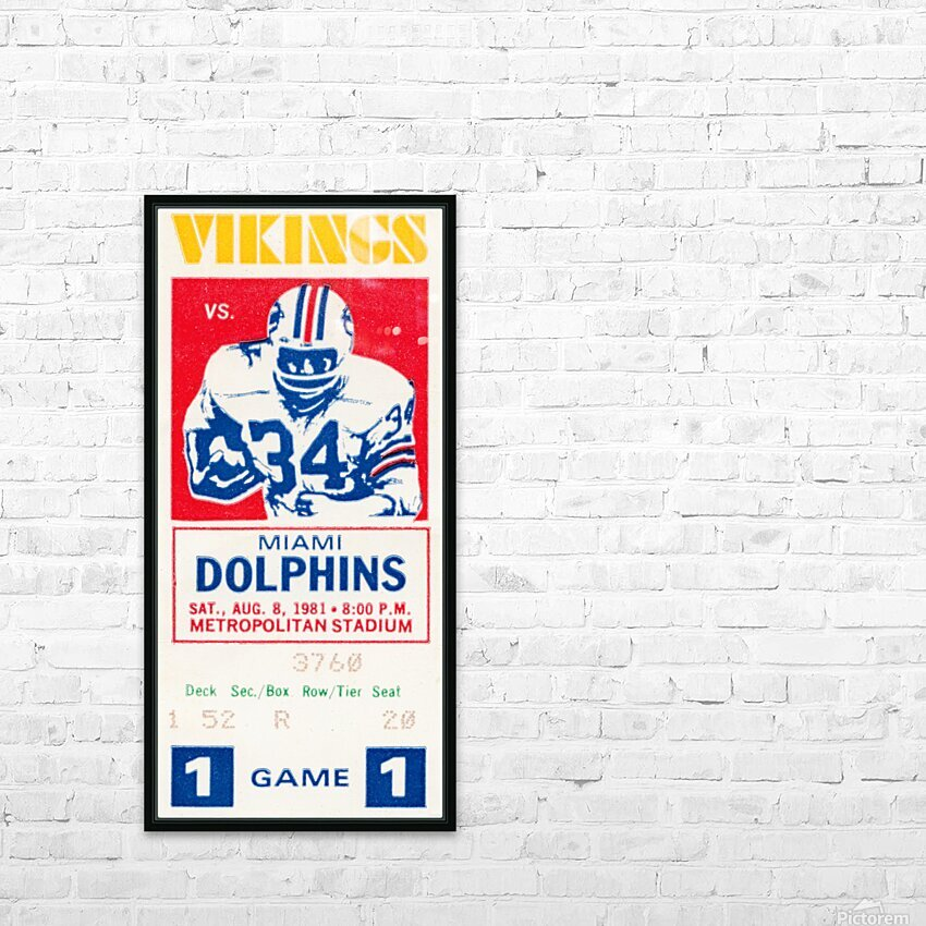 1981 minnesota miami football ticket HD Sublimation Metal print with Decorating Float Frame (BOX)