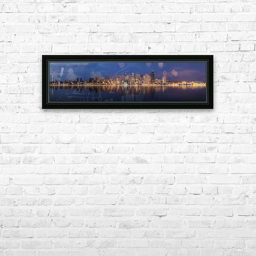 Seattle Skyline Panorama at Night HD Sublimation Metal print with Decorating Float Frame (BOX)