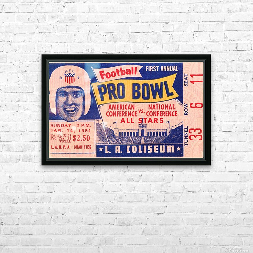 1951 First Pro Bowl Ticket Stub Art HD Sublimation Metal print with Decorating Float Frame (BOX)