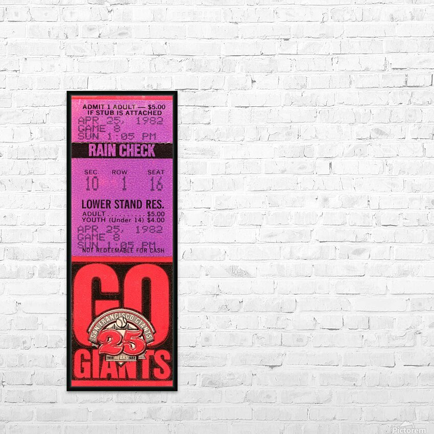 1982 San Francisco Giants Ticket Stub Art HD Sublimation Metal print with Decorating Float Frame (BOX)