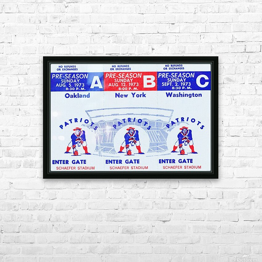 1973 New England Patriots Season Tickets HD Sublimation Metal print with Decorating Float Frame (BOX)