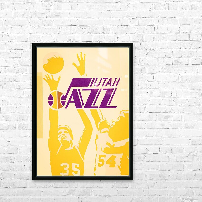 1980 Utah Jazz Retro Basketball Art HD Sublimation Metal print with Decorating Float Frame (BOX)