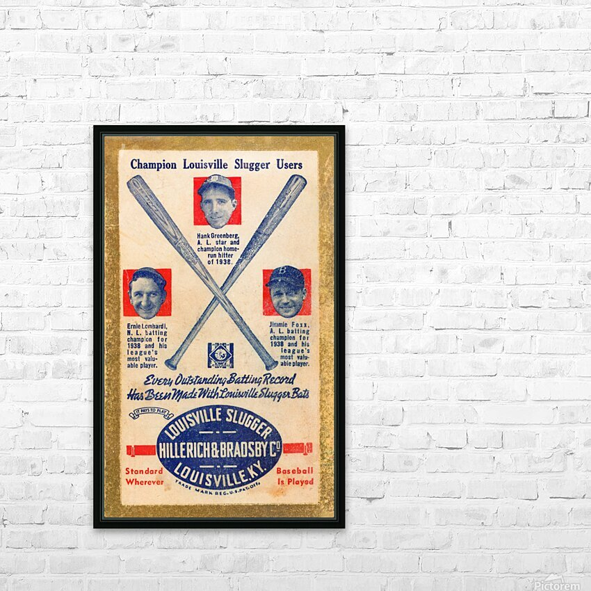 1939 Louisville Slugger Ad Poster HD Sublimation Metal print with Decorating Float Frame (BOX)