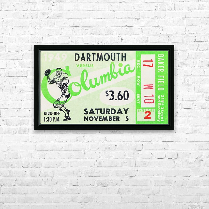 1949 Dartmouth vs. Columbia HD Sublimation Metal print with Decorating Float Frame (BOX)