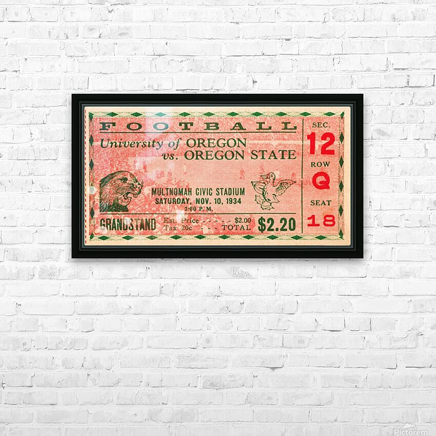 1934 Oregon State vs. Oregon Football Ticket Art HD Sublimation Metal print with Decorating Float Frame (BOX)
