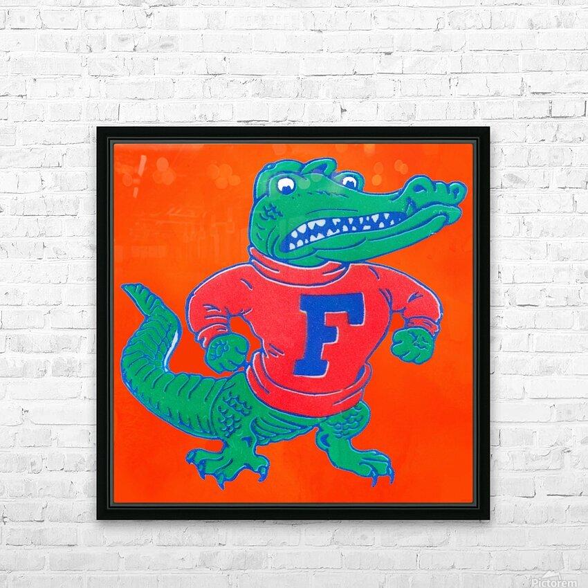 Retro Florida Gator Art HD Sublimation Metal print with Decorating Float Frame (BOX)