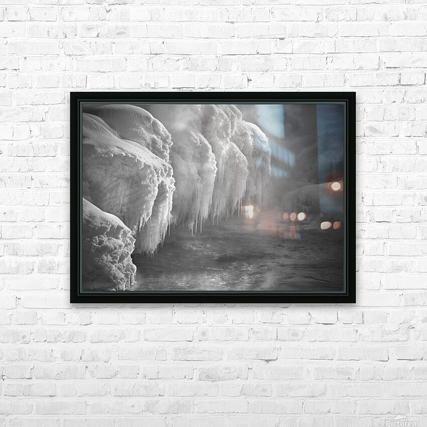 Winter River Smoke HD Sublimation Metal print with Decorating Float Frame (BOX)