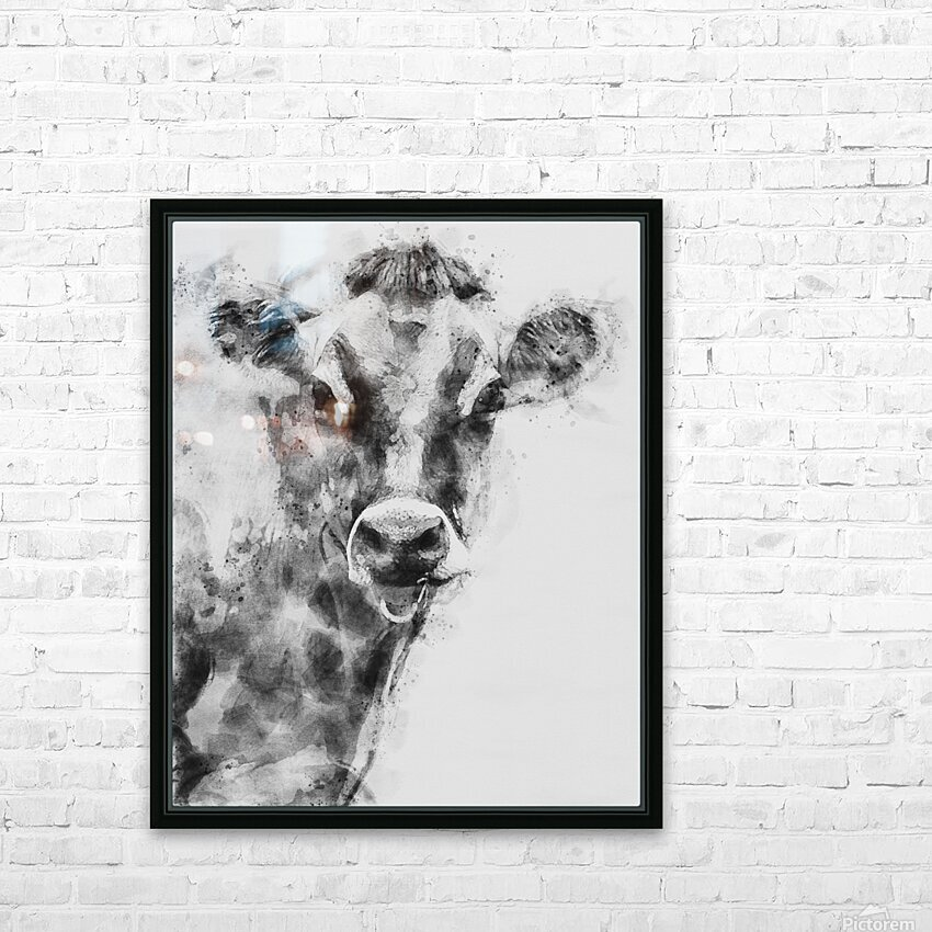 Dairy Cow Black and White HD Sublimation Metal print with Decorating Float Frame (BOX)