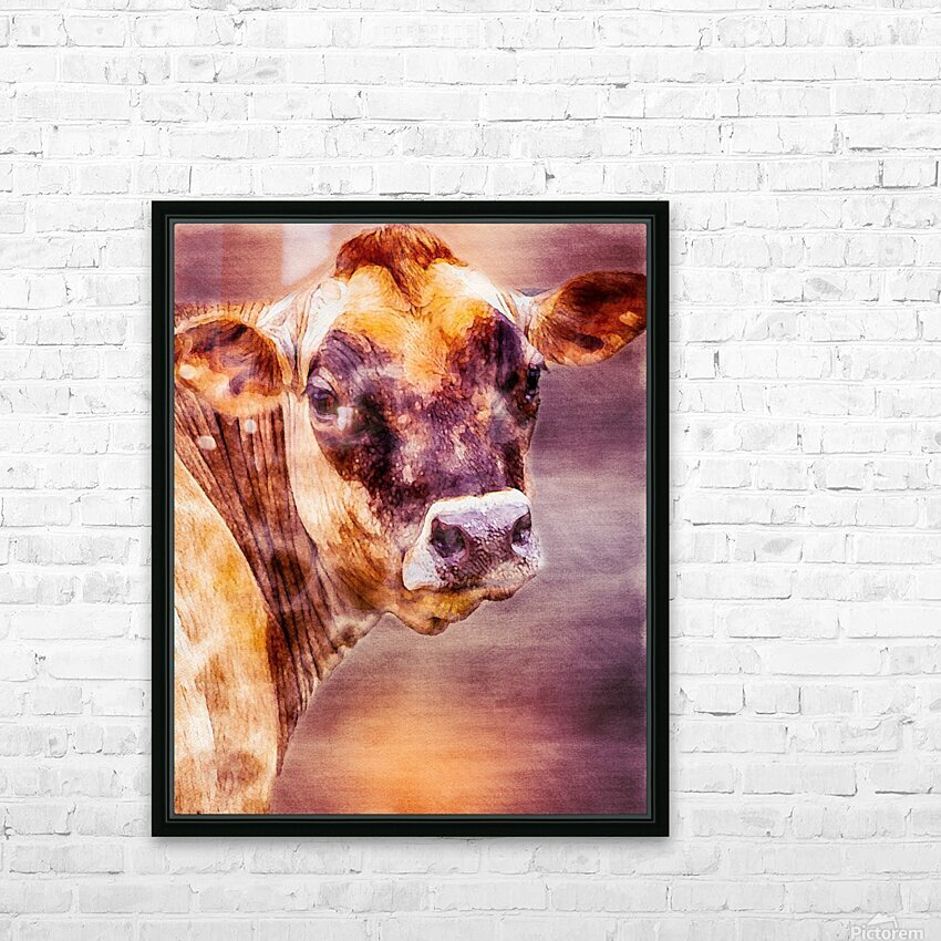 Beautiful Dairy Cow HD Sublimation Metal print with Decorating Float Frame (BOX)