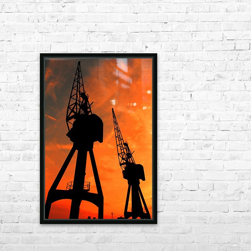 Sunset port tower cranes HD Sublimation Metal print with Decorating Float Frame (BOX)
